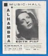 PROGRAMME Nov 1945 - MUSIC-HALL ALHAMBRA - EDITH PIAF - YVES MONTAND, FERNAND SARDOU, RINA KETTY, Disques POLYDOR - Programs