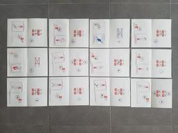 """Lot 11 Documents Premier Jour D'émission """"Albertville 92 - XVIe Jeux Olympiques D'Hiver"""" - Documents De La Poste"""