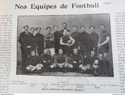1900 RUGBY - SPORT ATHLÉTIQUE BORDELAIS - STADE FRANÇAIS - LONDON TEAM - GATFORD BRIDGE ETC... - Livres, BD, Revues