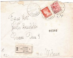 RACCOMNDATA CUNEO N°1 ( VIA ROMA ) - 4. 1944-45 Repubblica Sociale
