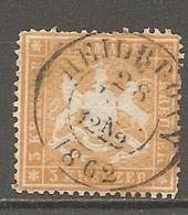 WURTEM - Yv. N° 17A MI. N° 17y  Dent 13 1/2 Papier Mince  (o)  3k Jaune Orange  Cote 45 Euro BE R 2 Scans - Wurtemberg