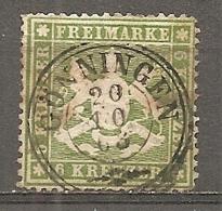 WURTEM - Yv. N° 18A MI. N° 18y  Dent 13 1/2 Papier Mince  (o)  6k Vert  Cote 80 Euro BE R 2 Scans - Wurtemberg