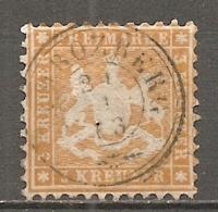 WURTEM - Yv. N° 22 MI. N° 22  Dent 10  (o)  3k Jaune-orange  Cote 45 Euro BE  2 Scans - Wurtemberg