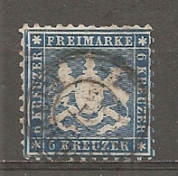 WURTEM - Yv. N° 27 MI. N° 27  Dent 10  (o)  6k  Bleu Cote 70 Euro BE   2 Scans - Wurtemberg
