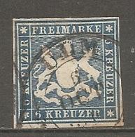 WURTEM - Yv. N° 32 MI. N° 32  Percé En Ligne  (o)  6k  Bleu Clair Cote 65 Euro BE R  2 Scans - Wurtemberg