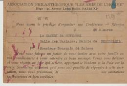 C. P. - ASSOCIATION PHILANTHROPIQUE - LES AMIS DE L'HOMME - PARIS - CONFÉRENCE RÉUNION A BEAUSOLEIL - 1951 - LE JOURNAL - Evénements
