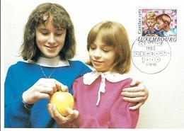 """5.12.1985  -  La Photo Prise Par Tony Krier Représente  """"AMITIE'"""" - Edit.Tony Krier,Luxembourg  Timbre Caritas - Tarjetas Máxima"""