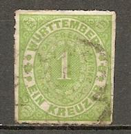 WURTEM - Yv. N° 36 MI. N° 36  Percé En Ligne  (o)  1k  Vert Cote 2,5 Euro BE   2 Scans - Wurtemberg