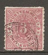 WURTEM - Yv. N° 38 MI. N° 38  Percé En Ligne  (o)  3k Rose Cote  1,5 Euro BE   2 Scans - Wurtemberg