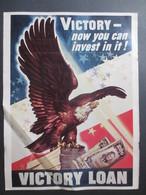 """Affiche """" La Dernière Guerre Vue à Travers Les Affiches """"  Victory Now You Can Invest In It """" N° 143 - Historical Documents"""
