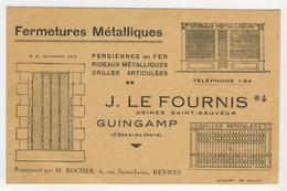 Carte De Visite - 22 - Guingamp -      Fermetures Métalliques J. Le Fournis - Cartes De Visite