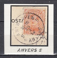 135 Gestempeld Antwerpen 5 Anvers (sterstempel) - 1915-1920 Albert I