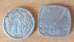 France - 2 Jetons De Nécéssité Des Villes D'Epernay (1922) Et Besançon (1917) En Aluminium - Monétaires / De Nécessité