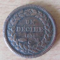 MONACO - Monnaie 1 Décime Honoré V 1838 - 1819-1922 Honoré V, Charles III, Albert I