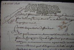 1698 Ferme De Mermont Requête De Deraime Au Maître Des Eaux Et Fôrets De Compiègne, Dégradations Dans Les Bois Par Marin - Manuscripts