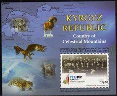 KYRGYZSTAN, 2018, MNH, INTERNATIONAL TELECOMMUNICATION UNION CONFERENCE, MOUNTAINS, BIRDS, LEOPARDS, FAUNA, S/SHEET - Other