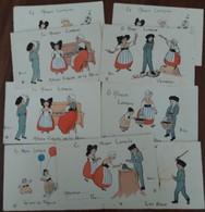 Lot De 7 Cartes + 2 Doubles EN ALSACE LORRAINE  Illustrateur Henriette Delalain - Andere Zeichner