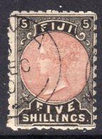 Fiji 1881-99 QV 5/- Red & Black Definitive, Used, SG 69 (BP2) - Fiji (...-1970)