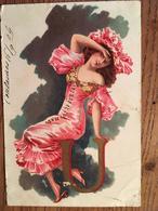 CPA Fantaisie Femme - Lettre De L' Alphabet U, écrite En 1904, Timbre - Illustrators & Photographers