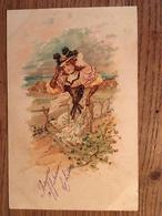 CPA, Illustrateur, Fantaisie, Saison Automne, Femme Se Tenant Le Chapeau, écrite En 1903, Timbre - 1900-1949