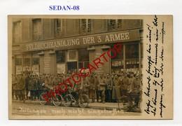 SEDAN-Librairie-Feldbuchhandlung 3 Armee-Journaux-CARTE PHOTO Allemande-GUERRE 14-18-1WK-France-08- - Sedan