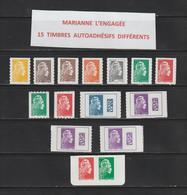 Nouveauté De 2018 /19 - Neuf ** - Adhésif - Lot Des 15 Timbres Différents De La Marianne L' ENGAGEE - 2 Scannes - Adhesive Stamps