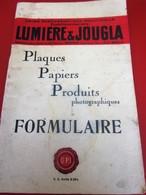 1948 UNION PRODUITS PHOTOGRAPHIQUES INDUSTRIELS LUMIÈRE & JOUGLA FORMULAIRES-AUTOCHROMES-PLAQUES-PAPIERS- - Matériel & Accessoires