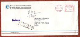 Luftpost, Einschreiben Reco, Bank Of Credit And Commerce, Postfreistempel, Dhaka Nach New York 1987 (75307) - Bangladesch
