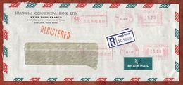 Luftpost, Einschreiben Reco, Shanghai Commercial Bank, Absenderfreistempel, Kwun Tong Hong Kong 1987 (75308) - Hong Kong (...-1997)