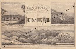 Carte Cartonnée Col De La Schlucht Defranoux Mohr Hôtel Vosges Note De 1889 - Belgique