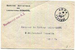 """Lettre Du 15/4/1952 Oblitérée Par C A D Manuel """"PP*Peronne""""  (Somme) Pour Paris - Poststempel (Briefe)"""