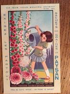 CPA, Publicité Sachets De Graines Le Paysan, Rose-Trémière Double Grande Variée, Sachet N° 171, Petite Fille Arrosant - Advertising