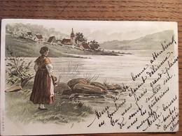CPA, Illustrateur, Fantaisie, Scène Bord De Lac, Femme Contemplant Le Lac, Village En Arrière Plan, écrite - 1900-1949