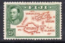 Fiji GVI 1938-55 2½d Brown & Green Definitive, Perf. 12, Hinged Mint, SG 256c, Fox Mark (BP2) - Fiji (...-1970)