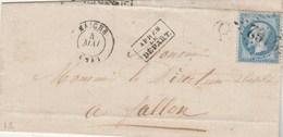 Yvert 22 Napoléon Lettre LSC MAICHE Doubs 4/5/1867 GC 2162 Boite Rurale Trevillers Bureau Passe 4169 Vesoul à Fallon - Marcophilie (Lettres)