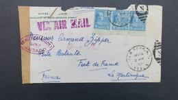 """Lettre Avril 1941 Pour Fort De France Martinique En Poste Restante , Censure """"1"""" Et Timbre Martinique Au Verso - Covers & Documents"""