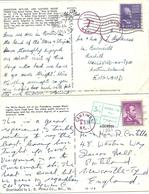 TWO U.S.A. POSTCARDS WITH CHARGE MARKS - THE WHITE HOUSE & BOSTON HARBOR MASS - United States