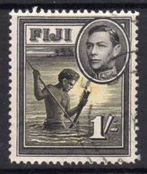 Fiji GVI 1938-55 1/- Black & Yellow Definitive, Perf. 12½, Used, SG 262 (BP2) - Fiji (...-1970)