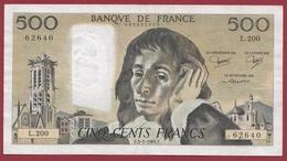 """500 Francs """"Pascal"""" Du 05/01/1984.F----F/TTB+---ALPH L.200 - 1962-1997 ''Francs''"""