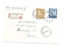 Sterstempel / Cachet Etoile  * HOUTHEM (Ypres)  *  Op Recom. 26.1.1955  Boudewijn/Marchand VOORZIJDE/DEVANT - Lettres & Documents