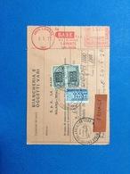 1977 AFFRANCATURA MECCANICA ROSSA EMA RED SU BOLLETTINO PACCHI LA BASE SPA LAINATE MILANO - Affrancature Meccaniche Rosse (EMA)