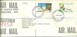 REGISTERED AIR MAIL COVER FROM CHARLESTOWN - NEVIS TO LONDON ENGLAND 1981 - St.Kitts And Nevis ( 1983-...)