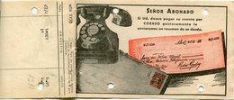 FACTURA DE LA UNION TELEFONICA AÑO 1946 BUENOS AIRES,  ARGENTINA. CON PUBLICIDAD PARA PAGAR POR CORREO - LILHU - Facturas & Documentos Mercantiles