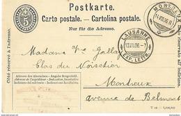 161 - 35 - Entier Postal Avec Superbes Cachets à Date Montreux Et Lausanne 1906 - Entiers Postaux