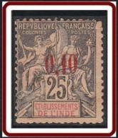 Inde Française - N° 21 (YT) N° 19 (AM) Neuf (*). Défectueux. - India (1892-1954)