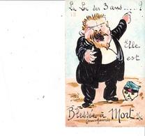 """CPA Peinte à La Main Caricature Satirique Jean JAURES """"La Loi Des 3 Ans"""" Tirage Limité Illustrateur ORENS (2 Scans) - Orens"""