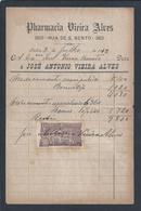 Recibo Da Farmácia Vieira Alves, De Lisboa De 1912 Selado Com Selo De 10 Réis Da República Portuguesa.. - Historical Documents