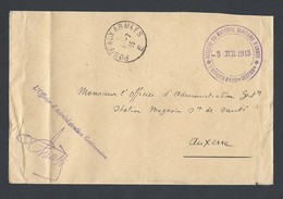 Guerre 14-18 Enveloppe Poste Aux Armées E Bureau Frontière A Troyes Du 3/7/1915 + Cachet Sanitaire - Guerre De 1914-18