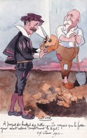 CPA Peinte à La Main Caricature Satirique COMBES Fossoyeur Anti-Clérical  Illustrateur BOBB (2 Scans) - Illustratori & Fotografie