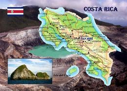 Costa Rica Country Map New Postcard Landkarte AK - Costa Rica
